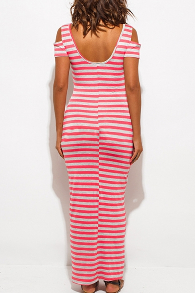 Scoop Neck Short Sleeve Cold Shoulder Striped Print Maxi T-shirt Beach Dress