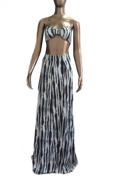 Sexy Fashion Bandeau Top with Split Front Maxi Skirt Color Block Co-ords
