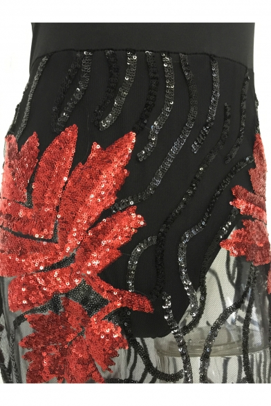 Sexy Sheer Mesh Patchwork Sequined Floral Sleeveless Midi Tube Dress