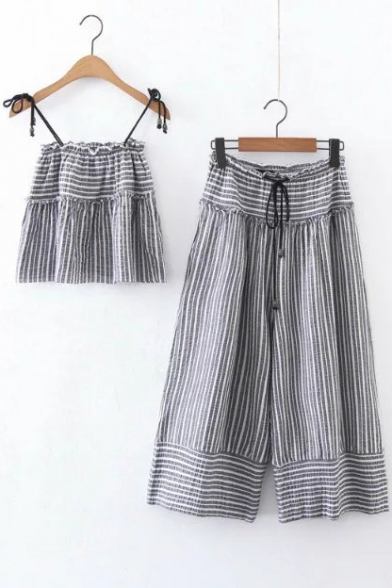 8d2b2b1fa42768 Summer s Striped Printed Cami Top Drawstring Waist Wide Legs Pants Set -  Beautifulhalo.com