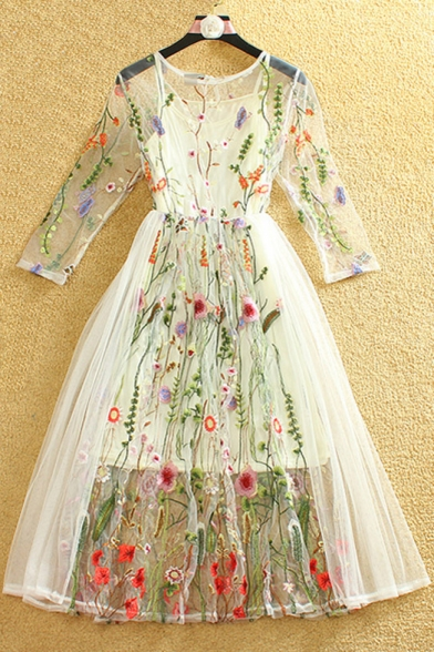 New Arrival Bohemia Stylish Embroidery Pattern Sheer 3 4