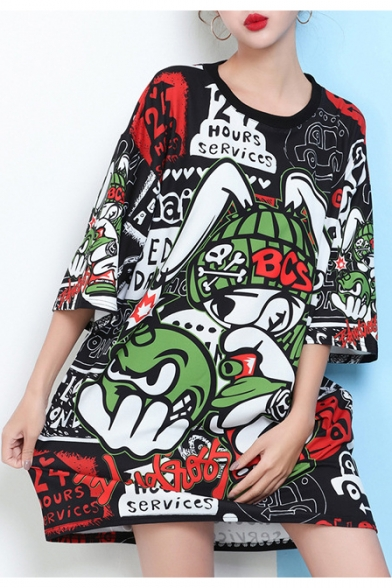 New Fashion Color Block Cartoon Printed Round Neck Half Sleeve Oversize T-Shirt Dress