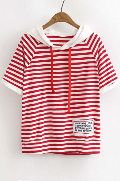 Color Block Hooded Striped Printed Short Sleeve Cotton Oversize T-Shirt