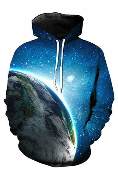 Galaxy Printed Long Sleeve Fashion Leisure Hoodie with Pockets