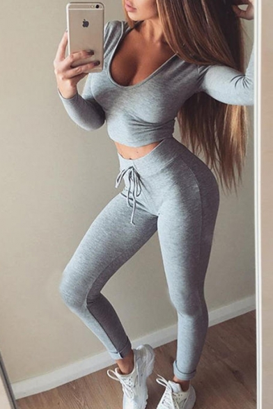 Leisure Sports Long Sleeve Cropped Plain Hoodie Drawstring Waist Pants Set
