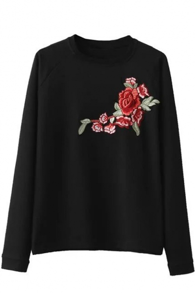 Retro Floral Embroidered Round Neck Long Sleeve Pullover Sweatshirt