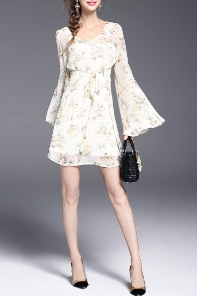 V Neck Flared Sleeve Floral Printed Chiffon A-Line Mini Dress
