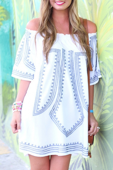 Loose Off the Shoulder Printed 3/4 Length Sleeve Mini T-Shirt Dress