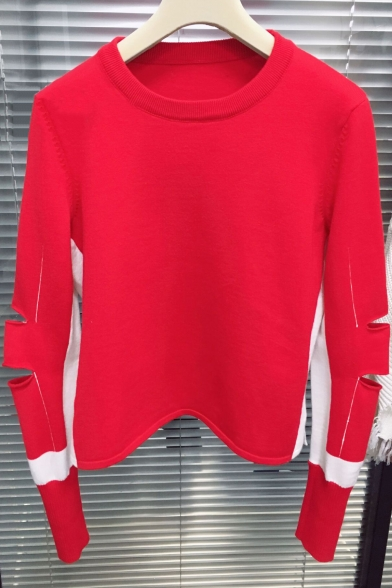 Round Neck Long Sleeve Stylish Hollow Out Sleeve Plain Knit Sweater