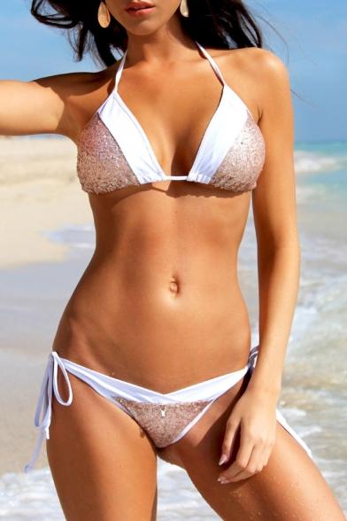 Color Block Sequined Halter Neck Triangle Top String Side Bottom Bikini Swimwear