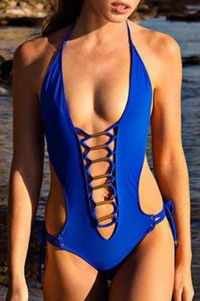 Lace Sexy Up Front Back Plain Halter Swimwear Pieces One Cutout Open 4qPqxw5r