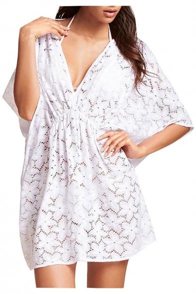 Women's Plunge V-Neck Batwing Half Sleeve Floral Pattern Plain Cover Ups