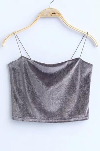 Women's Straps Sleeveless Velvet Cropped Spaghetti Tank Plain Cami waTFq7x1wc