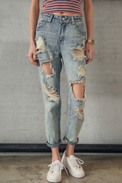 Boyfriend Style Casual Leisure Plain Cut Out Ripped Jeans