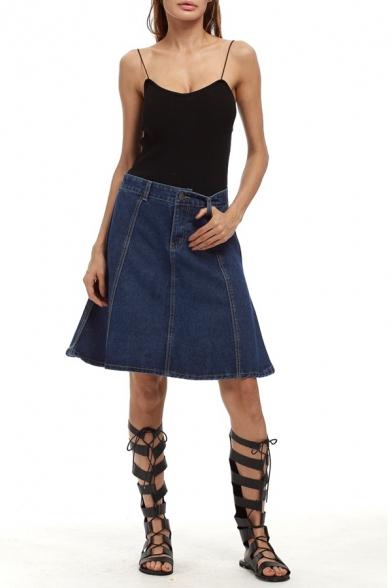 Contrast Stitching A-Line Midi Denim Skirt - Beautifulhalo.com