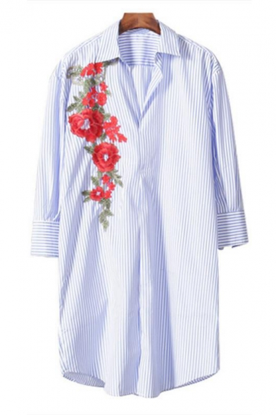 Lapel Collar Long Sleeve Floral Striped Printed Leisure Tunic Pullover Blouse