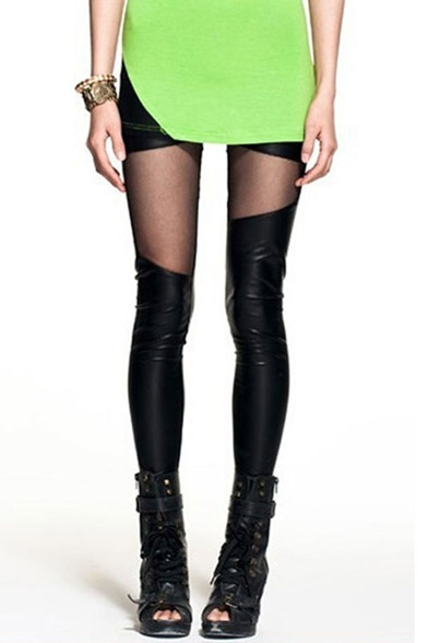 New Fashion Sheer Mesh Leather Patched Plain Skinny Leggings