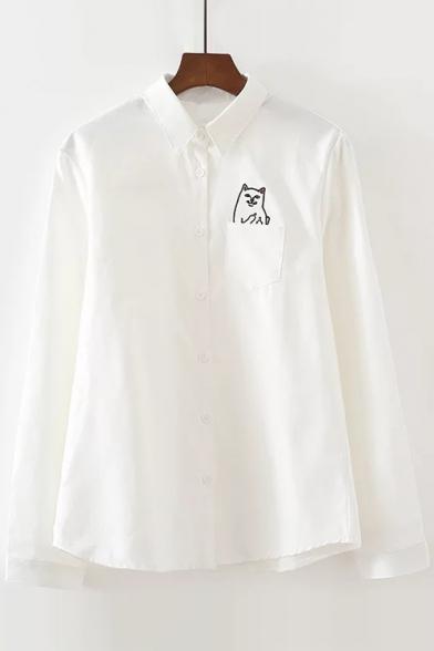 Lapel Collar Long Sleeve Cartoon Cat Printed Pocket Buttons Down Shirt