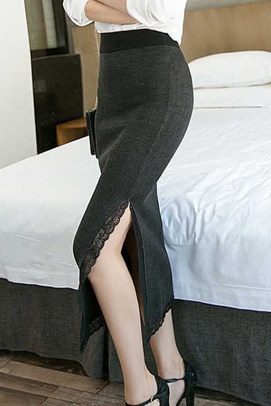 Sexy Split Side Lace Patchwork Bodycon Plain Knitted Skirt