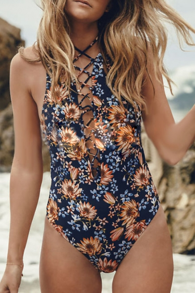 Floral Printed Lace Up Front Open Back One Piece Swimwear
