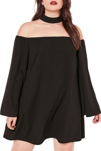 New Fashion Boat Neck Long Sleeve Oversize Plain Mini Dress with Choker