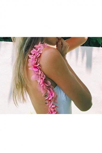 New Fashion Floral Design Trim Open Back One Piece Swimwear