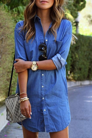 Women's Single Breasted Long Sleeve Lapel Tunic Denim Shirt