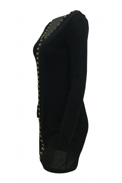 Neck Long Bodycon Dress Mini Breasted Sleeve Fashion V Single Plain 8qztwI1z