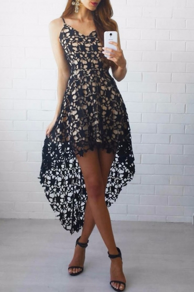 Glamorous Sleeveless Spaghetti Straps High Low Hem Lace Dress