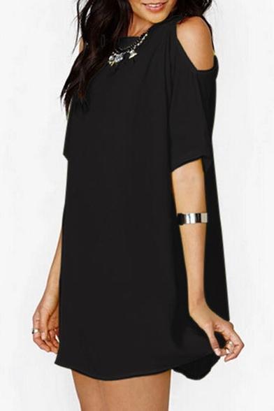 Round Neck Short Sleeve Cold Shoulder Plain Mini Leisure T-Shirt Dress