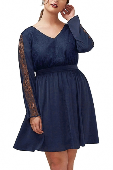 4b3ab46175f2 V Neck Lace Inserted Long Sleeve Oversize A-Line Plain Mini Dress -  Beautifulhalo.com
