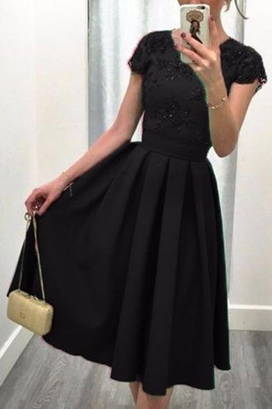 Women's Fashion V-Back Short Sleeve Plain Midi Skater Party Dress