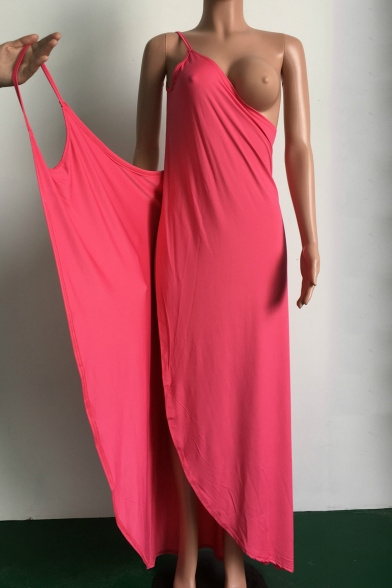 New Stylish Spaghetti Straps Sleeveless V-Neck Plain Wrap Maxi Dress