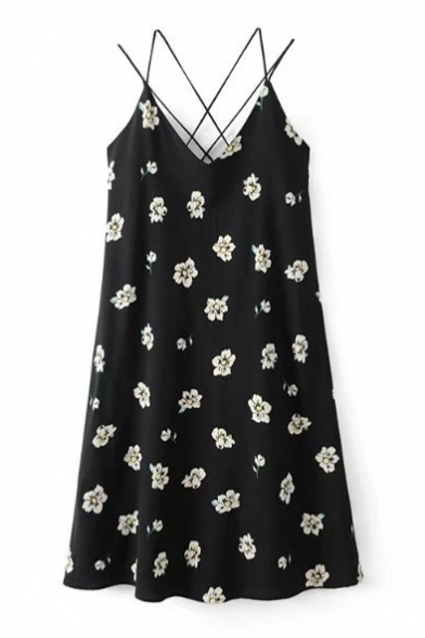 Summer's Fresh Floral Printed Swing Midi Slip Dress