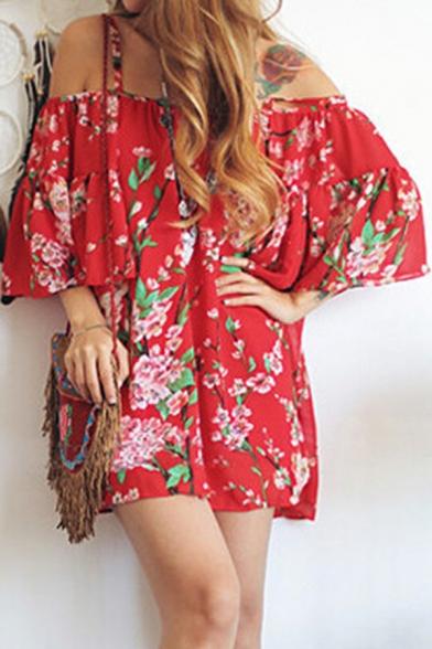 Women's Floral Printed Spaghetti Straps Cold Shoulder Short Sleeve Mini Dress