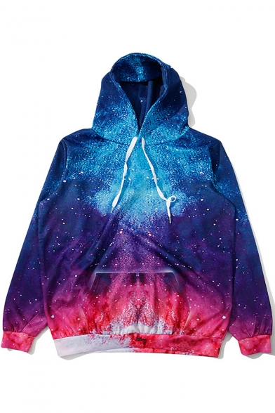 Color Block Galaxy Printed Long Sleeve Sports Hoodie