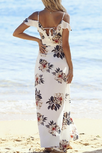 3302e4345e6 ... Floral Printed Spaghetti Straps Cold Shoulder Split Front Maxi Beach  Dress ...