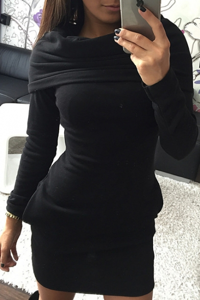 Hooded Long Sleeve Plain Bodycon Mini Pencil Dress with Pockets