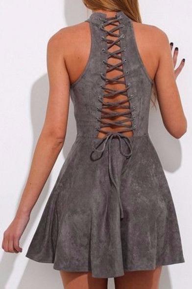 New Arrival Lace-Up Cutout Back Sleeveless Halter Neck Plain Mini Skater Dress