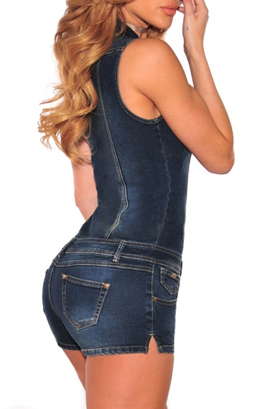 New Arrival Single Breasted Sleeveless Lapel Denim Rompers