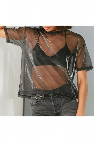 Summer's New Collection Round Neck Short Sleeve Sheer Mesh Metal Color T-Shirt