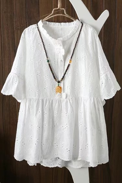 Casual Round Neck Bell Short Sleeve Hollow Out Plain Mini Smock Dress