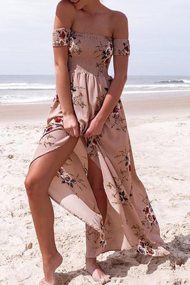 New Fashion Off The Shoulder Short Sleeve Split Front Maxi Beach Dress