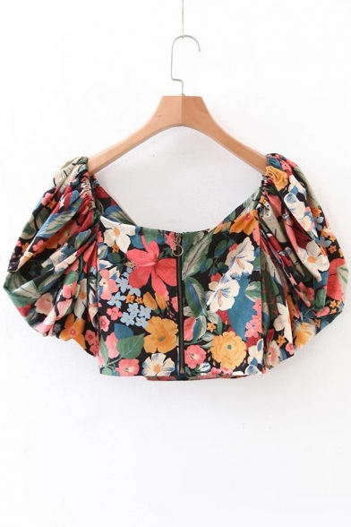 2600323f08f Square Neck V Back Zip Fly Floral Printed Puff Sleeve Cropped Blouse -  Beautifulhalo.com