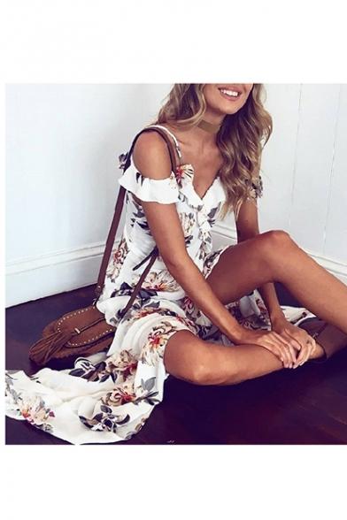 Floral Printed Spaghetti Straps Cold Shoulder Split Front Maxi Beach Dress