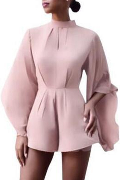 93a542e060e1 Round Neck Ruffle Hem Sleeve Plain Wide Legs Oversize Rompers -  Beautifulhalo.com