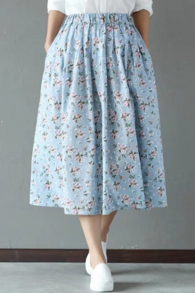Vintage Floral Printed Elastic Waist Midi Tea Skirt with Pockets
