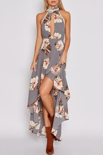 Women's Cutout V-Neck Pom Pom Trim Sleeveless High Low Hem Floral Printed Asymmetric Dress
