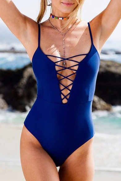 Women's Fashion Crisscross Cutout Front Spaghetti Straps Plain One Pieces Swimwear