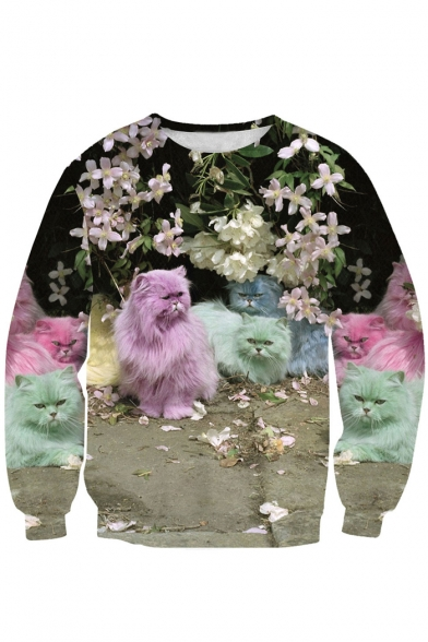 Digital Floral Cat Printed Round Neck Long Sleeve Pullover Sweatshirt
